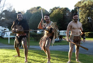 Maori dudes in holiday park